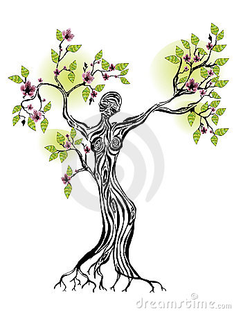 spring tree woman