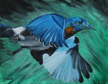 """""""Bluebird in Flight"""" by artist Jean Kieffer at pixels.com"""
