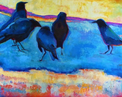 """Crow Confab"" by artist AB Deneweth at scarletowlstudio.blogspot.com"