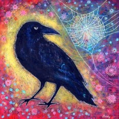 """Mr. Raven, Meet Ms. Web"" by artist Lindy Gaskill at artbylindy.com"