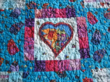 In the center of child's quilt