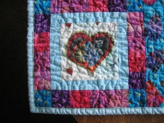 Lower left corner of child's quilt
