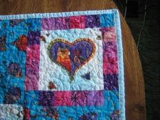Upper right corner of child's quilt