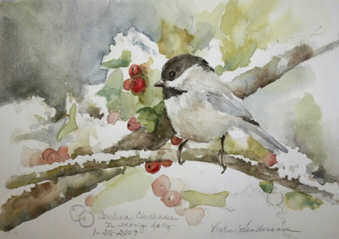 Image from Vickie's Sketchbook,  https://vickiehendersonsketchbook.blogspot.com/2013/12/carolina-chickadee-in-snowy-holly.html